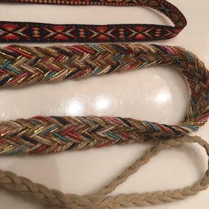 Set of 3 Headbands Boho Tribal Suede Hemp Elastic